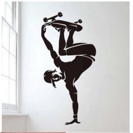 Genç Paten Oyuncusu  Yazısı Spor Salonu Duvar Stickerı
