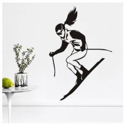 Kış Spor Kayakçı Yazısı Spor Salonu Duvar Stickerı
