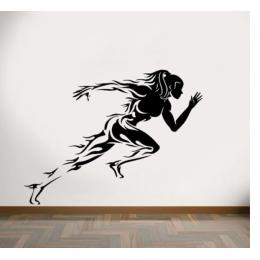 Kadın Koşucu Yazısı Spor Salonu Duvar Stickerı