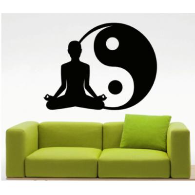 Yoga Yin Yang Yazısı Spor Salonu Duvar Stickerı