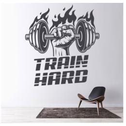 Spor Salonlarına Özel Train Hard Duvar Yazısı Cam Vitrin Sticker Yapıştırma