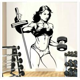 Spor Salonlarına Özel Sporcu Kadın  Duvar Yazısı Cam Vitrin Sticker Yapıştırma