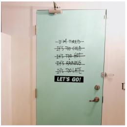 Spor Salonlarına Özel Let's Go Duvar Yazısı Cam Vitrin Sticker Yapıştırma