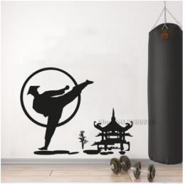 Spor Salonlarına Özel Kung Fu Wushu Duvar Yazısı Cam Vitrin Sticker Yapıştırma