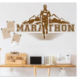 Spor Salonlarına Özel Maraton Koşucusu Duvar Yazısı Cam Vitrin Sticker Yapıştırma