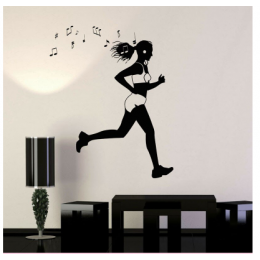 Spor Salonlarına Özel Koşan Kız Müzik Dinlerken Duvar Yazısı Cam Vitrin Sticker Yapıştırma