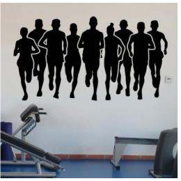 Spor Salonlarına Özel Maraton Koşucuları Duvar Yazısı Cam Vitrin Sticker Yapıştırma