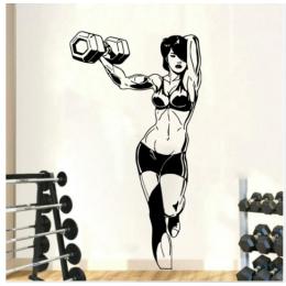 Spor Salonlarına Özel Kaslı Kadın Halterci Duvar Yazısı Cam Vitrin Sticker Yapıştırma