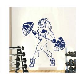 Spor Salonlarına Özel Seksi Kaslı Kadın Halterci Duvar Yazısı Cam Vitrin Sticker Yapıştırma