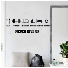 Spor Salonlarına Özel Never Give Up  Duvar Yazısı Cam Vitrin Sticker Yapıştırma