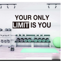 Spor Salonlarına Özel Your Only Limit Is You Duvar Yazısı Cam Vitrin Sticker Yapıştırma