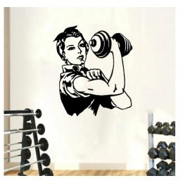 Spor Salonlarına Özel Retro Kadın Duvar Yazısı Cam Vitrin Sticker Yapıştırma