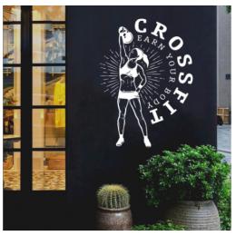 Spor Salonlarına Özel Crossfit Kadın  Duvar Yazısı Cam Vitrin Sticker Yapıştırma