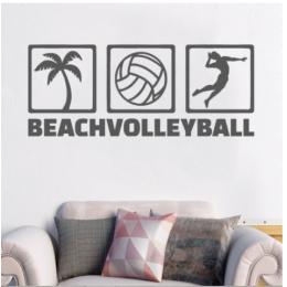 Spor Salonlarına Özel Beach Volleyball  Duvar Yazısı Cam Vitrin Sticker Yapıştırma