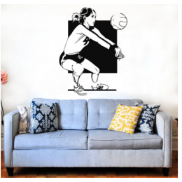 Spor Salonlarına Özel Kadın Volleyball  Yazısı Cam Vitrin Sticker Yapıştırma