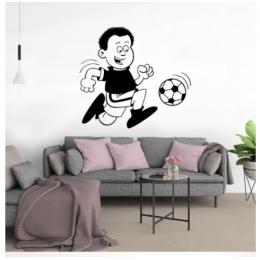 Spor Salonlarına Özel Futbolcu Çocuk Yazısı Cam Vitrin Sticker Yapıştırma