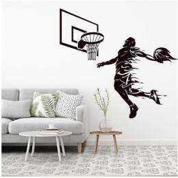 Spor Salonlarına Özel Erkek Basketbolcu Yazısı Cam Vitrin Sticker Yapıştırma