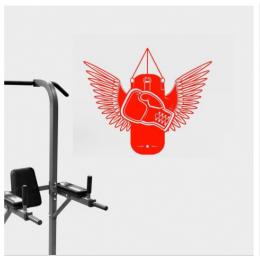 Spor Salonlarına Özel Boks Eldiveni ve Torbası Yazısı Cam Vitrin Sticker Yapıştırma