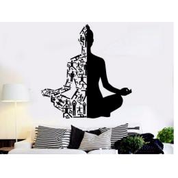 Spor Salonlarına Özel  Yoga Sanat Meditasyon Yazısı Cam Vitrin Sticker Yapıştırma
