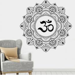 Spor Salonlarına Özel Yoga Mandala Lotus Çiçeği Yazısı Cam Vitrin Sticker Yapıştırma
