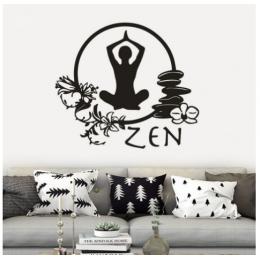 Spor Salonlarına Özel Daire Zen Yoga Yazısı Cam Vitrin Sticker Yapıştırma