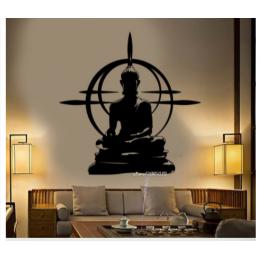 Spor Salonlarına Özel Daire Buda Yoga Yazısı Cam Vitrin Sticker Yapıştırma