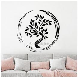 Spor Salonlarına Özel Daire Yoga Ağacı Yazısı Cam Vitrin Sticker Yapıştırma
