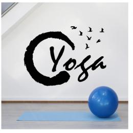 Spor Salonlarına Özel Daire Yoga Yazısı Cam Vitrin Sticker Yapıştırma