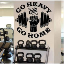 Go Heavy or Go Home Yazısı Spor Salonu Duvar Stickerı