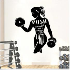 Dambıl Kaldıran Kadın Yazısı Spor Salonu Duvar Stickerı