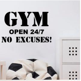 GYM OPEN 24/7 Yazısı Spor Salonu Duvar Stickerı