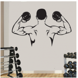 Dambıl Kaslı Erkek  Yazısı Spor Salonu Duvar Stickerı