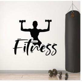 Kadın Dambıl  Fitness Yazısı Spor Salonu Duvar Stickerı