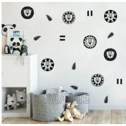 Sevimli hayvan aslan kreş duvar çıkartmaları dekor Jungle hayvan aslan DIY karikatür vinil sanat Sticker ev bebek oda duvar dekorasyonu