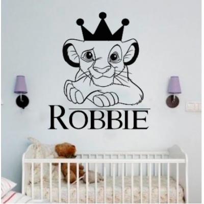 Aslan kral duvar çıkartmaları kişiselleştirilmiş özel ad vinil çıkartmaları Simba sanatsal fresk erkek çocuk odası dekorasyon karikatür taç