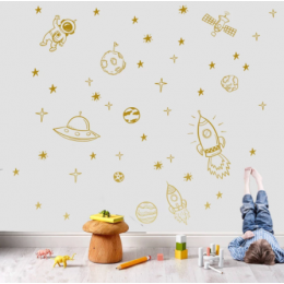 Roket gemi astronot yaratıcı vinil duvar Sticker çocuk odası dekorasyon dış uzay duvar çıkartması kreş çocuk yatak odası dekoru