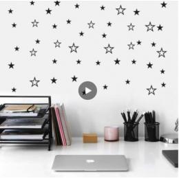 Karışık boyut içi boş katı yıldız duvar Sticker çocuk odaları için kreş sanat duvar çıkartmaları vinil DIY Peel ve sopa sevimli yıldızlı duvar kağıdı