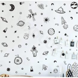 Uzay duvar çıkartması 79 adet güneş sistemi gezegen duvar Sticker çocuk odası için sınıf dekorasyon Minimalist gezegenler yıldız vinil çıkartması