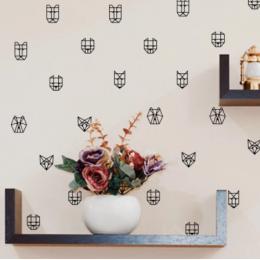 Geometrik hayvan duvar çıkartmaları vinil duvar çıkartmaları, geometrik tilki ayı vinil duvar kağıdı çıkartma Modern duvar sanat dekoru