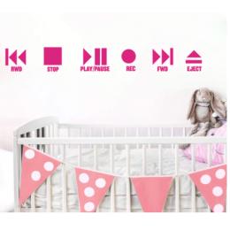 Karikatür müzik Musique sinema oyun ve durdurma duvar çıkartması okul Roommate müzik basma düğmesi duvar çıkartmaları bebek kreş vinil dekor
