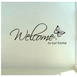 Welcome bizim ev anahtarları' metin desenleri duvar sticker ev dekor oturma odası çıkartmaları duvar kağıdı yatak odası dekoratif kelebek çıkartmaları