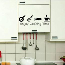 Karikatür pişirme keyfini çıkarın zaman mutfak Duvar Sticker PVC Oturma odası Mutfak Arka Plan ev dekorasyon Duvar Sanatı Çıkartmaları Çıkartmaları