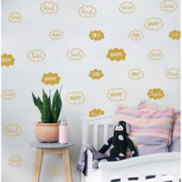 Sevimli bulut vinil duvar Sticker ev dekor çocuk odası için aşk tatlı mutlu kelimeler duvar çıkartmaları kreş dekorasyon duvar kağıdı NR07