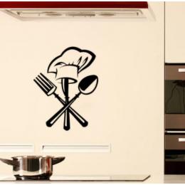 Yaratıcı Çatal bıçak çatal şef şapkası Duvar Sticker Mutfak için restoran dekorasyon Duvar Çıkartmaları duvar kağıdı ev dekor çıkartmala
