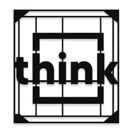 Çerçeve İçinde Think Düşün Yazısı Saç Metal Dekoratif İç Mekan ve Cephe Süslemeleri 50x45 cm