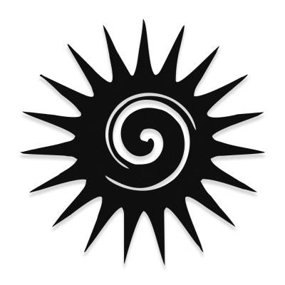 Spiral Sun Güneş  Desenli Metal Dekoratif Cephe Süslemeleri 50x50 cm