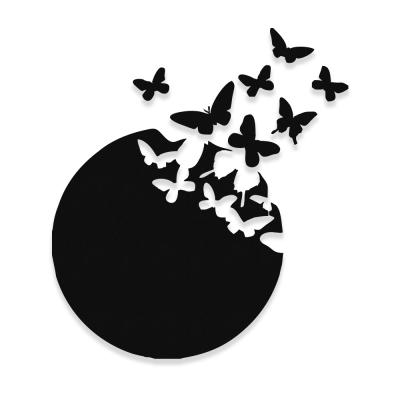 Uçuşan Kelebekler Özgürlük Deseni Metal veya Kompozit Dekoratif Cephe Süslemeleri 50x31 cm