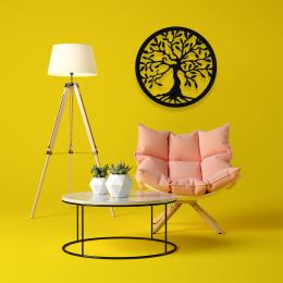 Yaşam Ağacı Saç Tree Of Life Metal Dekoratif İç Mekan İçin Metal Tablo 50x50 cm