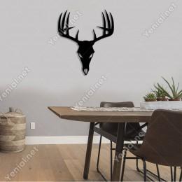 Boynuzları Büyük Geyik Kafası Duvar Oda Ev Aksesuarı Ahşap Tablo 42x50cm