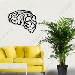 Detaylı Beyin Sol Lobu Duvar Oda Ev Aksesuarı Ahşap Tablo 50x41cm
